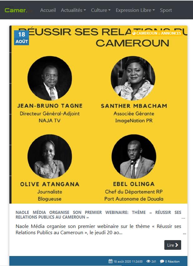 Naole Média organise son premier webinaire: thème « Réussir ses Relations Publics au Cameroun »