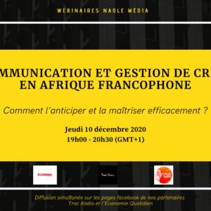 Événement : Communication et gestion de crise en Afrique francophone : comment l'anticiper et la maitriser efficacement ?